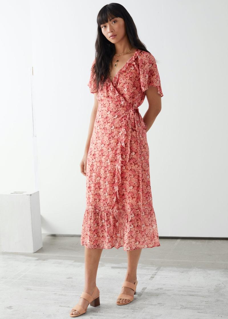& Other Stories Ruffled Midi Wrap Dress $129