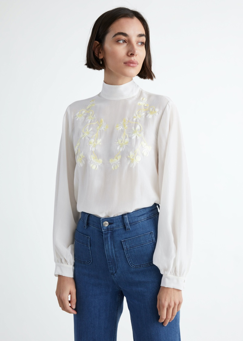 & Other Stories Sheer Relaxed Embroidery Blouse $129