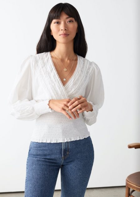 & Other Stories Smocked Lace Top $99