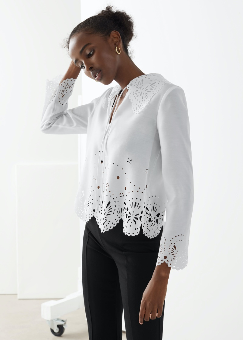 & Other Stories Wide Embroidered Scalloped Blouse $89
