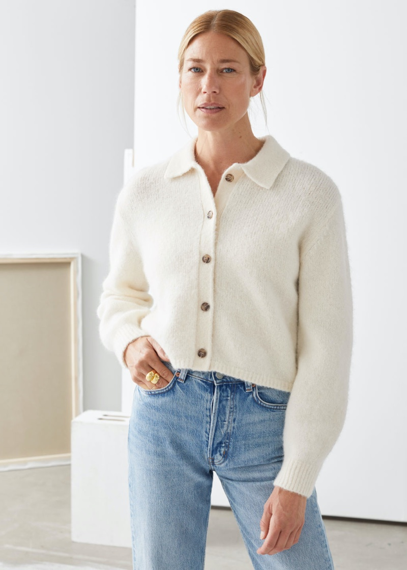 & Other Stories Wool Blend Tortoise Button Cardigan in White $89