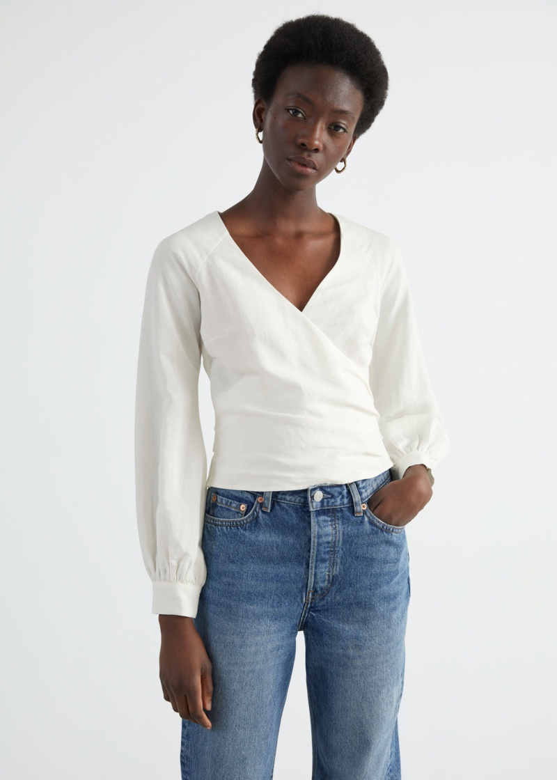 & Other Stories Wrap Tie Blouse $89