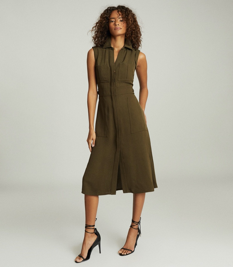 REISS Effie Utility Shirt Midi Dress in Khaki $425