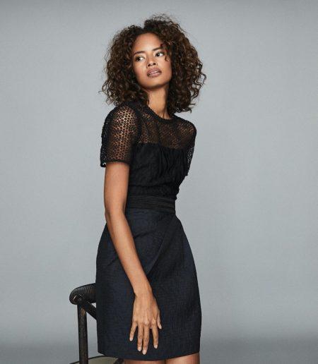 REISS Freida Lace Bodice Mini Dress $425