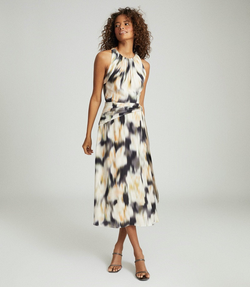 REISS Gisele Smudge-Print Midi Dress $425