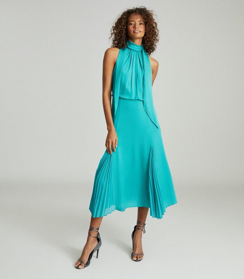 REISS Jenna Neck-Tie Detail Midi Dress $425