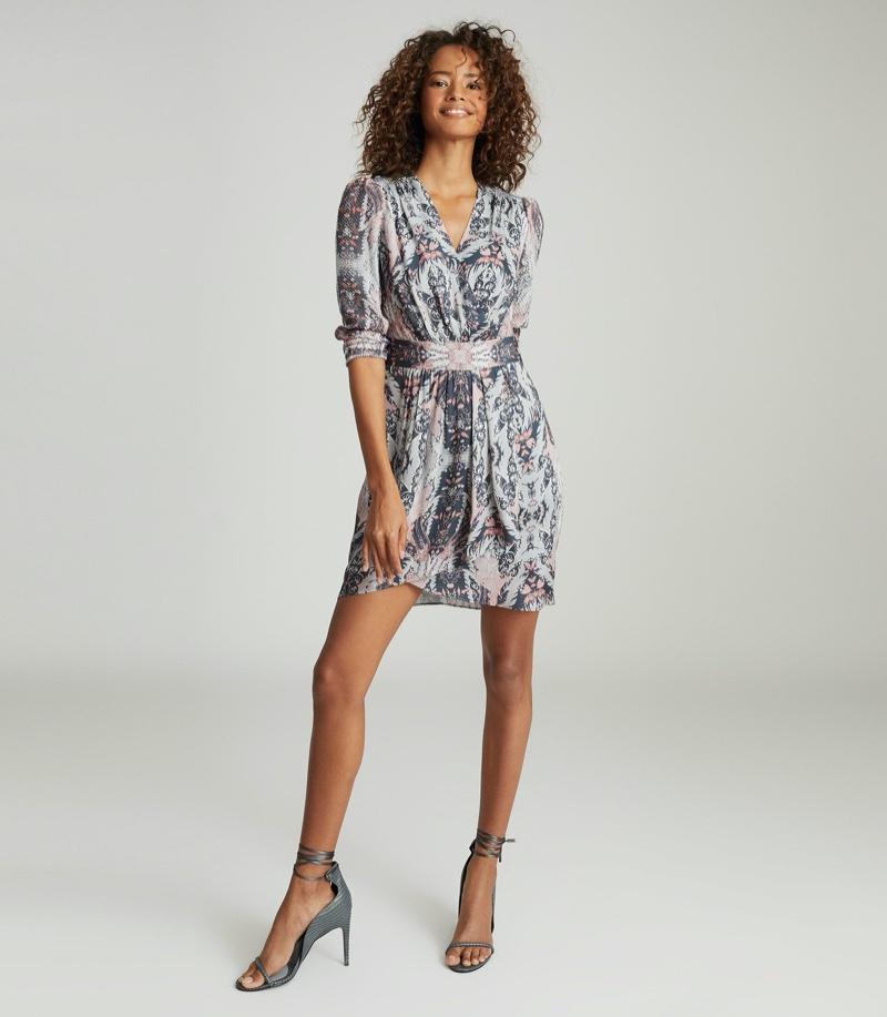 REISS Lacey Printed Midi Dress $345