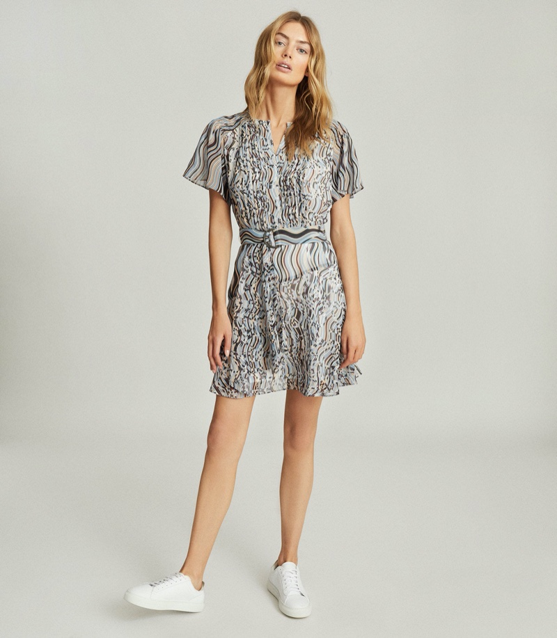 REISS Mildred Swirl-Print Pleated Mini Dress $330