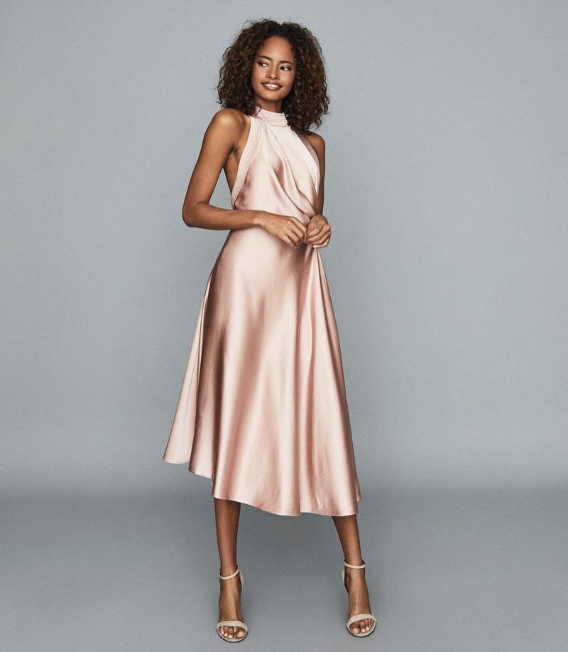 REISS Rita Halterneck Satin Midi Dress $465