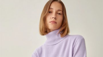 Reformation Luisa Cropped Cashmere Sweater in Pale Lavender $198