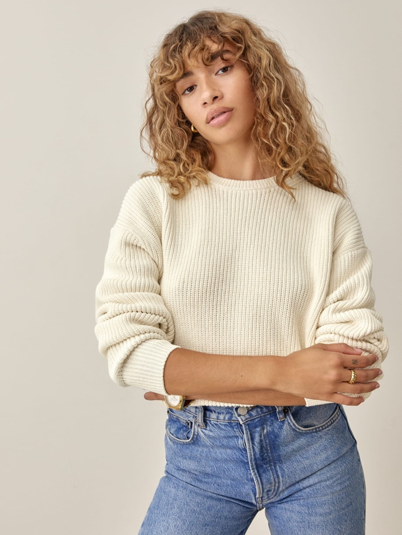 Reformation Winnie Sweater in Cream $168