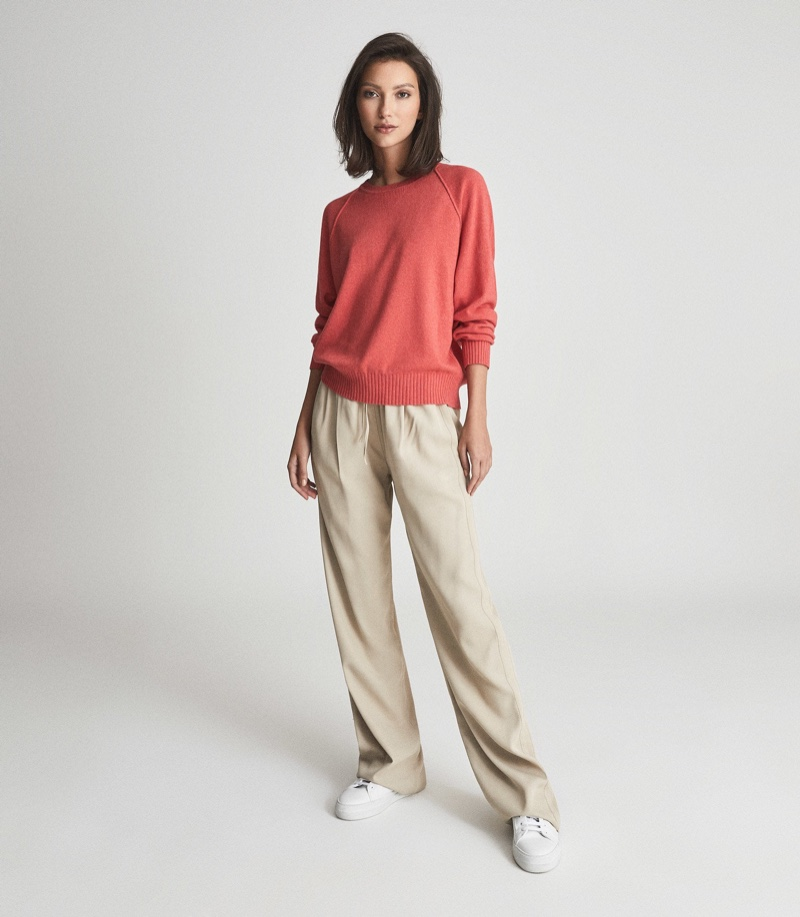 Reiss Bria Wool Cashmere Blend Jumper in Coral $150