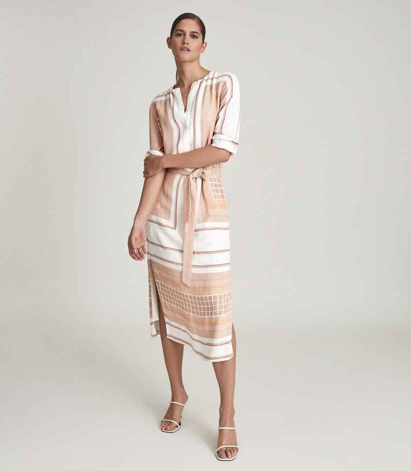 Reiss Harper Scarf Print Midi Dress $465
