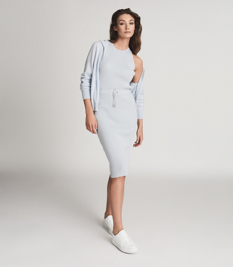 Reiss Josephine Knitted Midi Dress in Blue $345