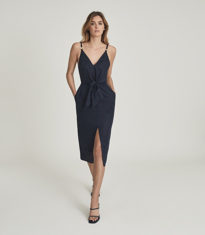 Reiss Kay Linen Midi Dress with Tie Detail $320