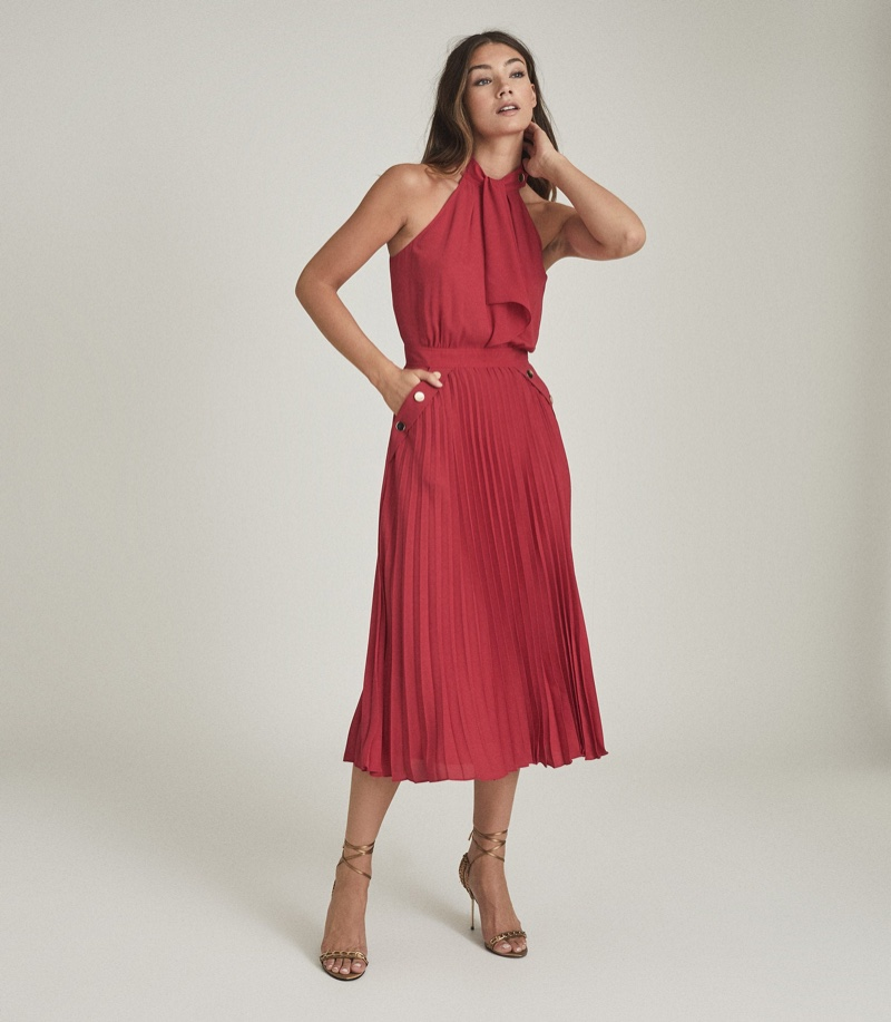 Reiss Nina Halterneck Pleated Midi Dress in Pink $465