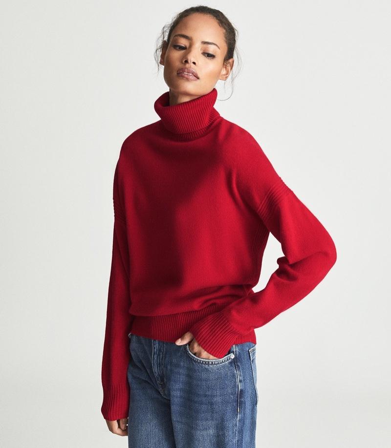 Reiss Nova Knitted Roll Neck in Red $145
