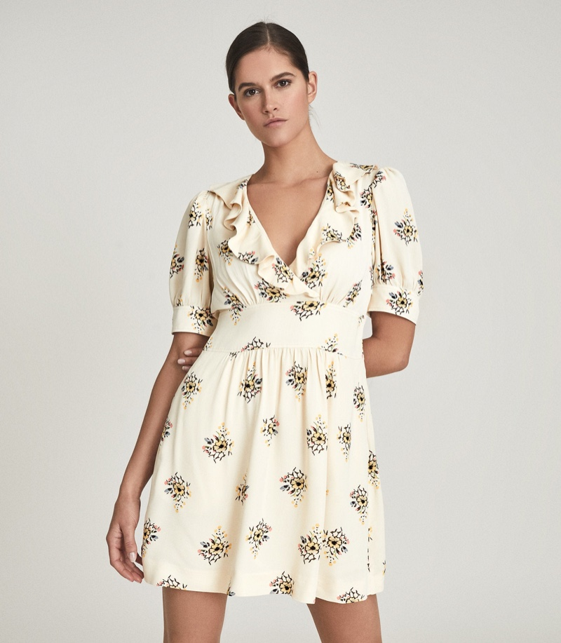 Reiss Olive Floral Printed Mini Dress $320