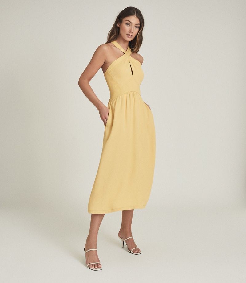 Reiss Orla Halterneck Midi Dress in Yellow $345