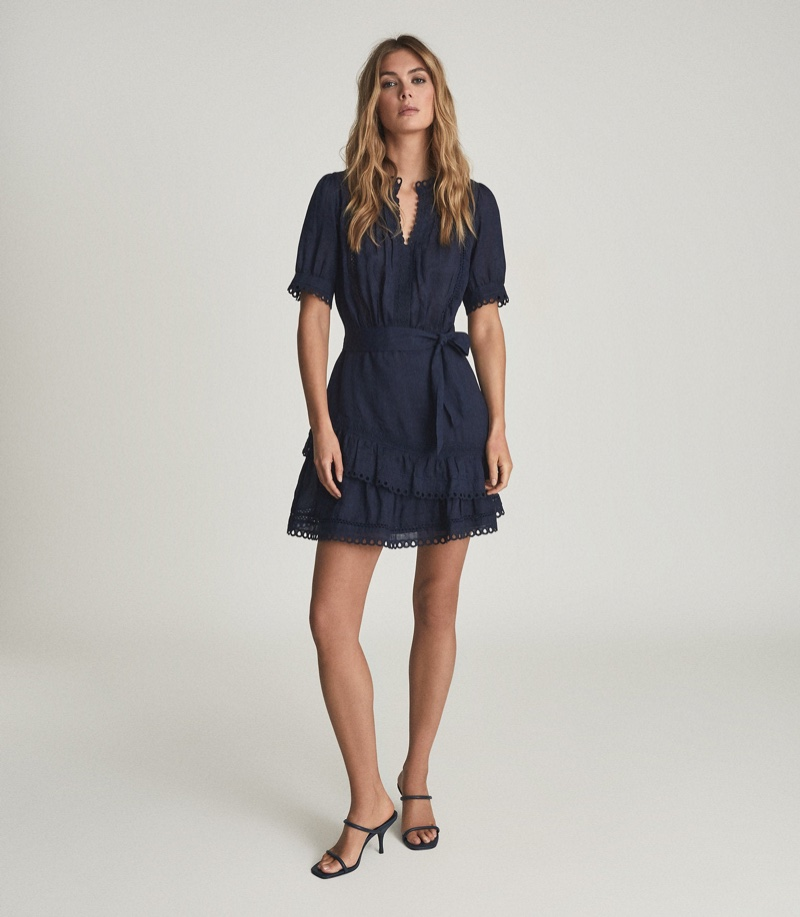 Reiss Paulina Embroidered Mini Dress $345
