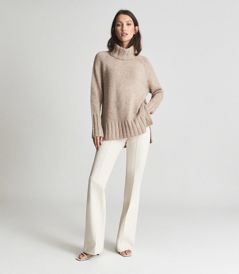 Reiss Stevie Cashmere Blend Roll Neck in Nude $245
