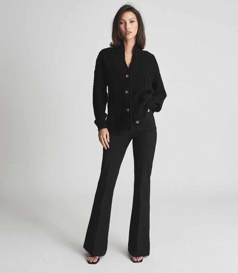 Reiss Summer Shawl Collar Cardigan in Black $335