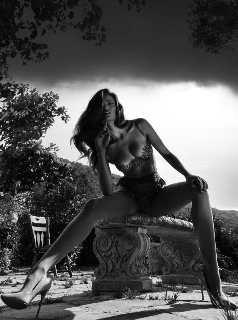 Captured in black and white, Renee Murden fronts Eats Lingerie Blue Cherry campaign.