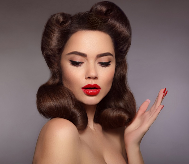 Retro 1950s Vintage Pinup Hair Red Lipstick Beauty Makeup