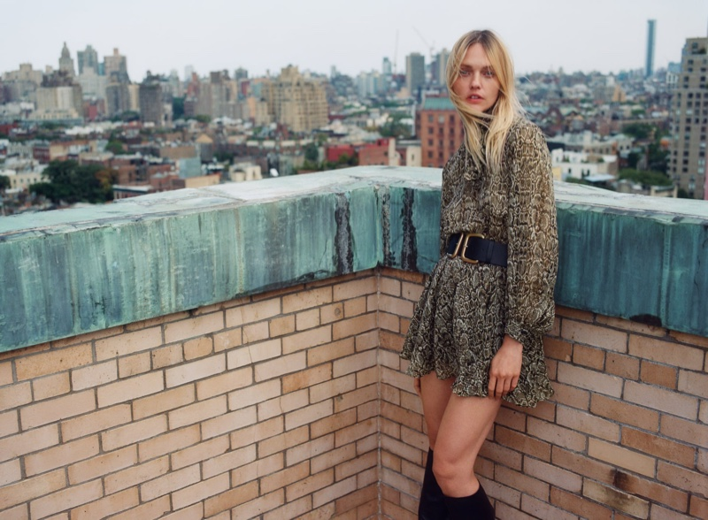 Sasha Pivovarova models Zara animal print dress.