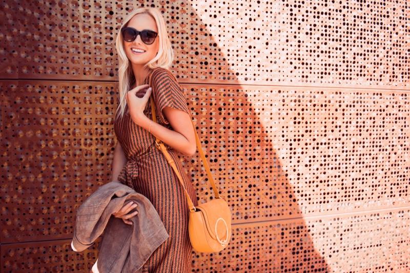 Smiling Model Stripe Dress Bag Sunglasses