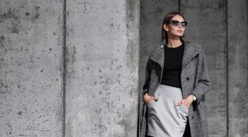 Stylish Model Grey Coat Black Top Mini Skirt