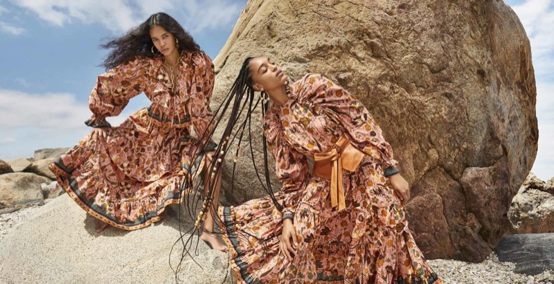 Jordan Daniels and Indira Scott star in Ulla Johnson fall-winter 2020 campaign.