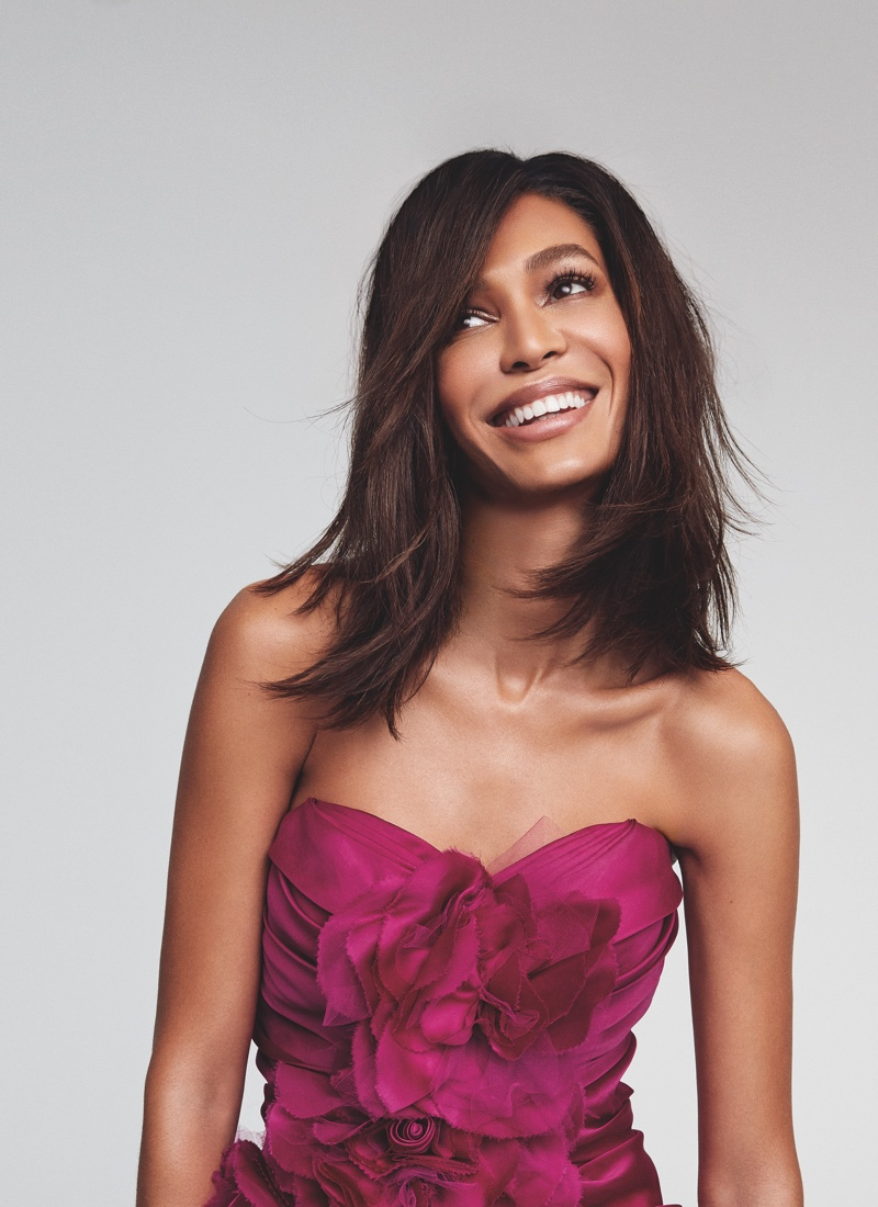 Joan Smalls is all smiles in Victoria's Secret Bombshell Passion fragrance campaign.