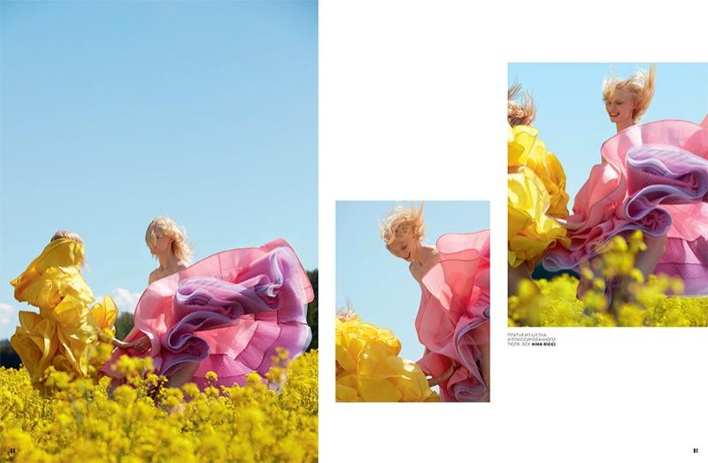 Vilma Sjoberg Embraces Romantic Dresses for Vogue Russia