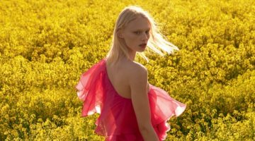Vilma Sjoberg Embraces Romantic Dresses for Vogue Russia
