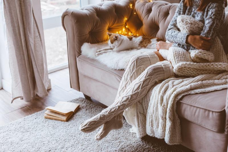 Woman Couch Knitwear Blanket Cat