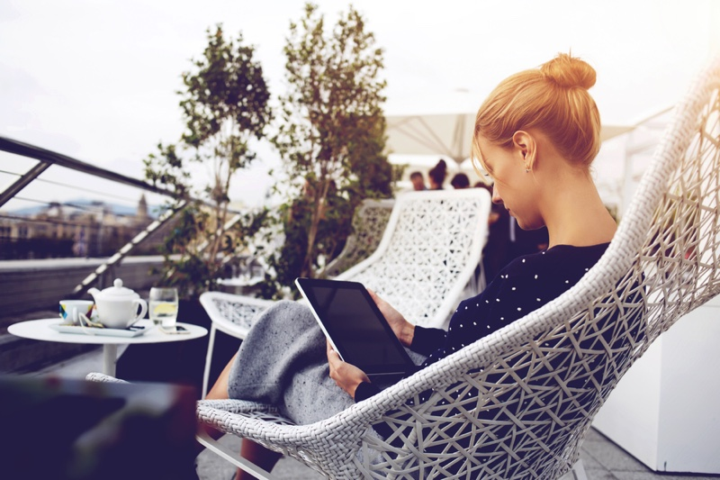 Woman Reading Tablet Outdoors Chair