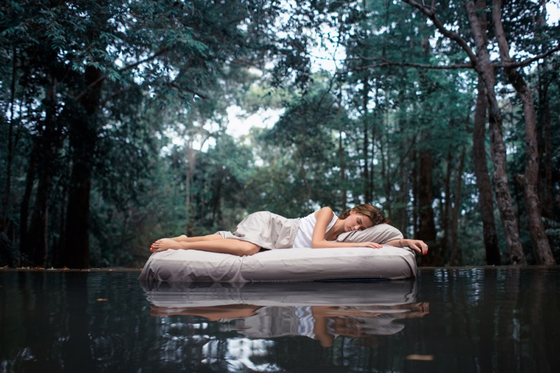 Woman Sleeping Mattress Outside Forest Concept