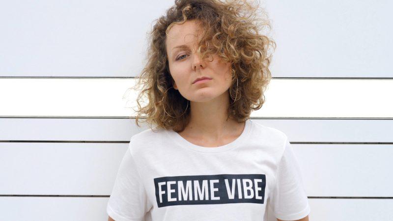 Woman Wearing Femme Vibe T-Shirt