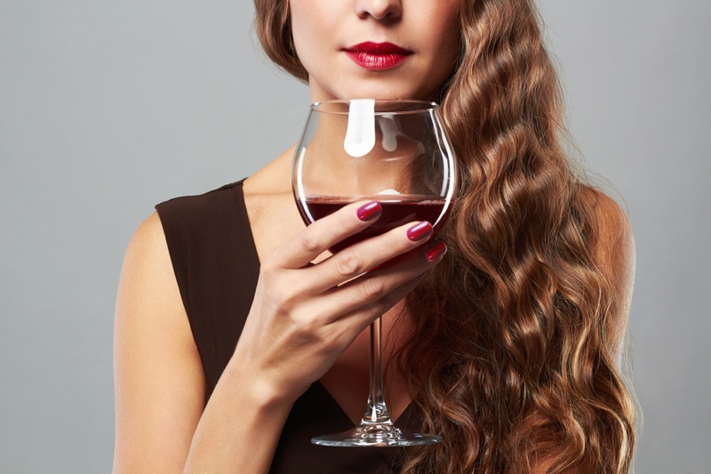 Woman Wine Glass Red Nails Hand Lipstick Drink