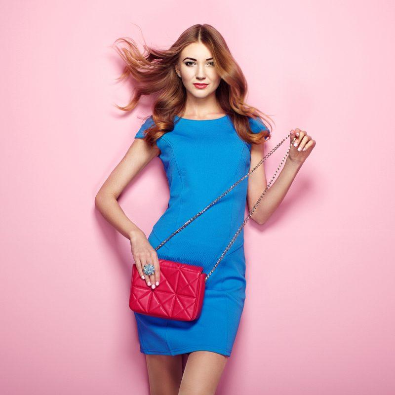 Woman in Bright Blue Dress