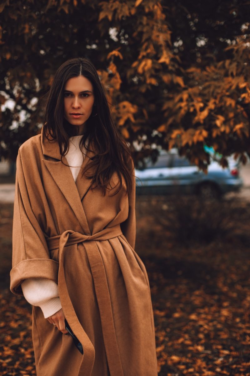 Woman in Wrap Belted Coat