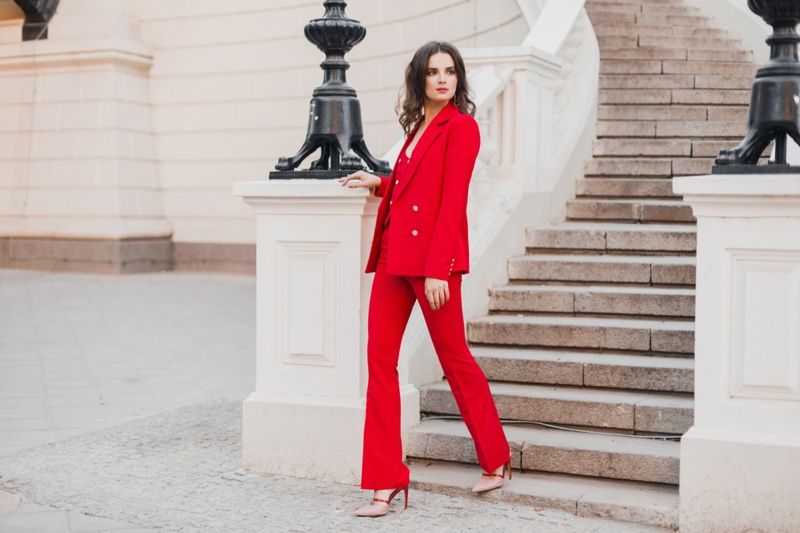 Women Red Pantsuit Heels Outside