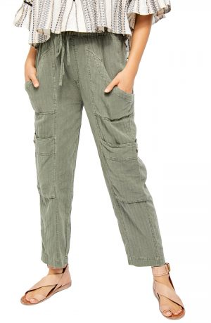 Women's Free People Feelin' Good Linen Blend Utility Pants, Size X-Small - Green