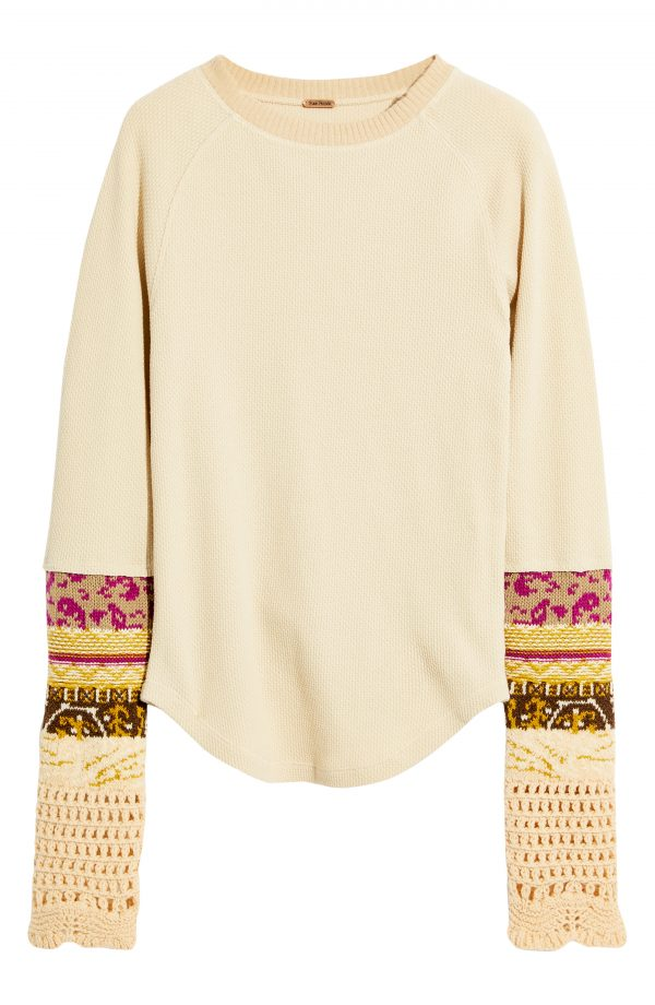 Women's Free People In The Mix Cuff Top, Size X-Small - Beige