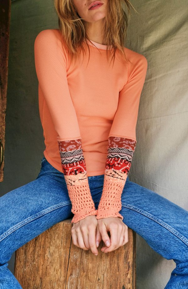 Women's Free People In The Mix Cuff Top, Size X-Small - Orange