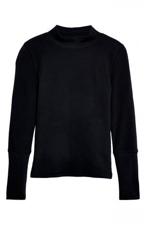 Women's Free People The Rickie Mock Neck Sweater, Size X-Small - Black