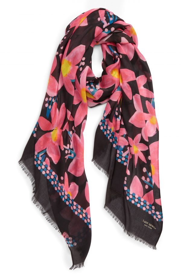 Women's Kate Spade New York Island Floral Oblong Scarf, Size One Size - Black