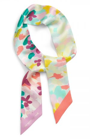 Women's Kate Spade New York Painted Petals Silk Skinny Scarf, Size One Size - Pink