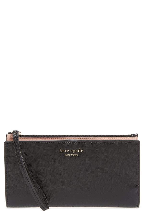 Women's Kate Spade New York Spencer Continental Leather Wristlet - Black
